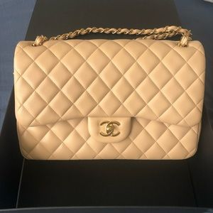 Authentic Chanel Beige Jumbo Lambskin Flap
